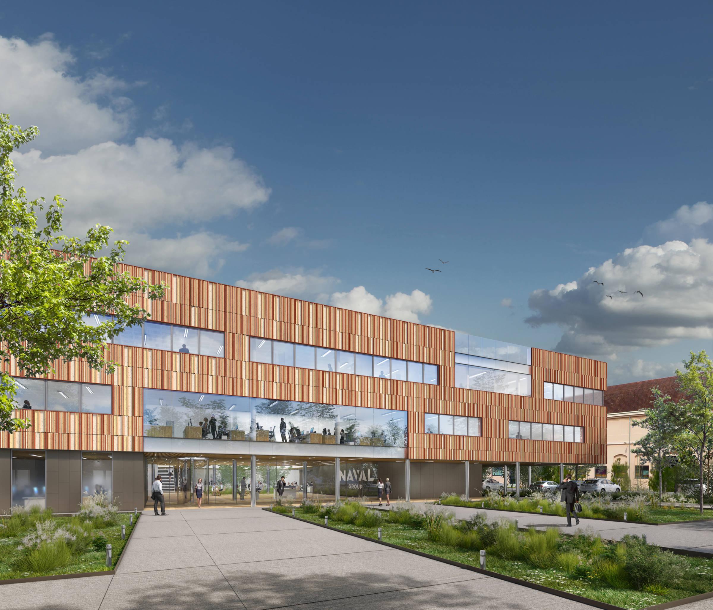 Bâtiment tertiaire, site Naval Group de Nantes-Indret_Architecture tertiaire_Groupe-6